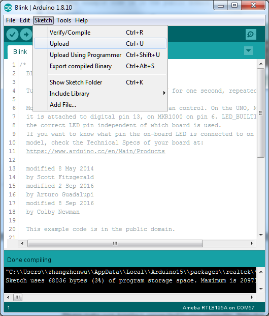 Ameba Arduino: Getting Started with RTL8195 – Realtek IoT