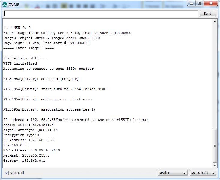 Ameba Arduino: [RTL8195] [RTL8710] Connect to WiFi – Realtek
