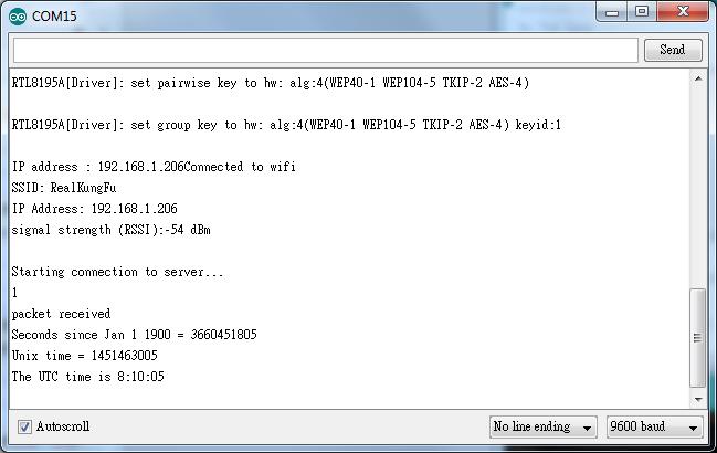 Ameba Arduino: [RTL8195] [RTL8710] Retrieve universal time (UTC) by