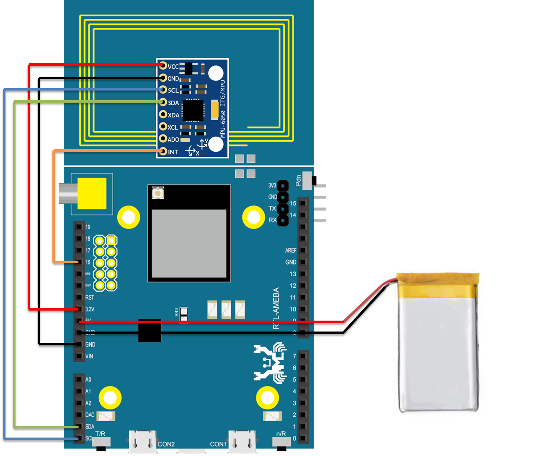 ameba arduino rtl8195 use 6 axis sensor to control the motor 2