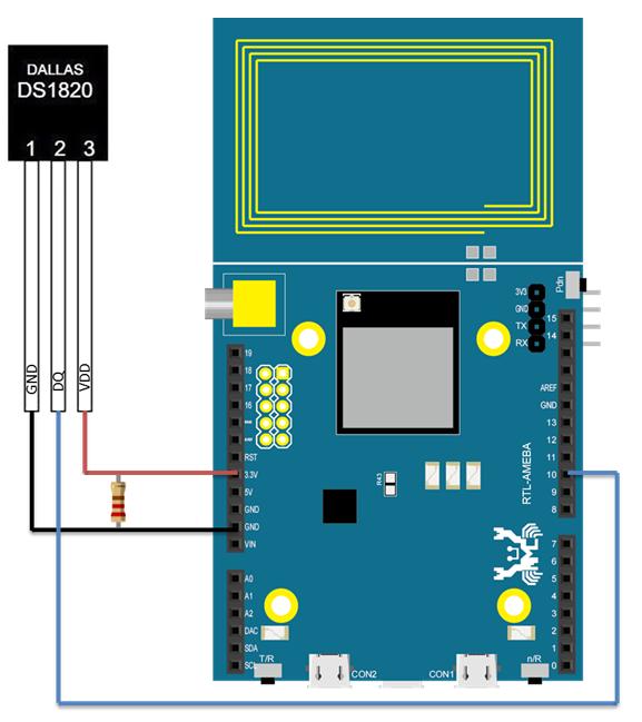 Ameba Arduino Rtl8195 Rtl8710 Gpio Using Ds18b20 Thermometer Wiring 1