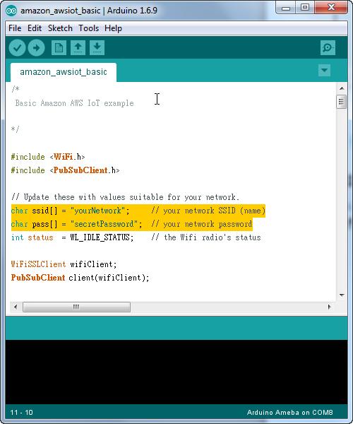 Ameba Arduino: [RTL8195] Use Amazon AWS IoT Shadow Service – Realtek