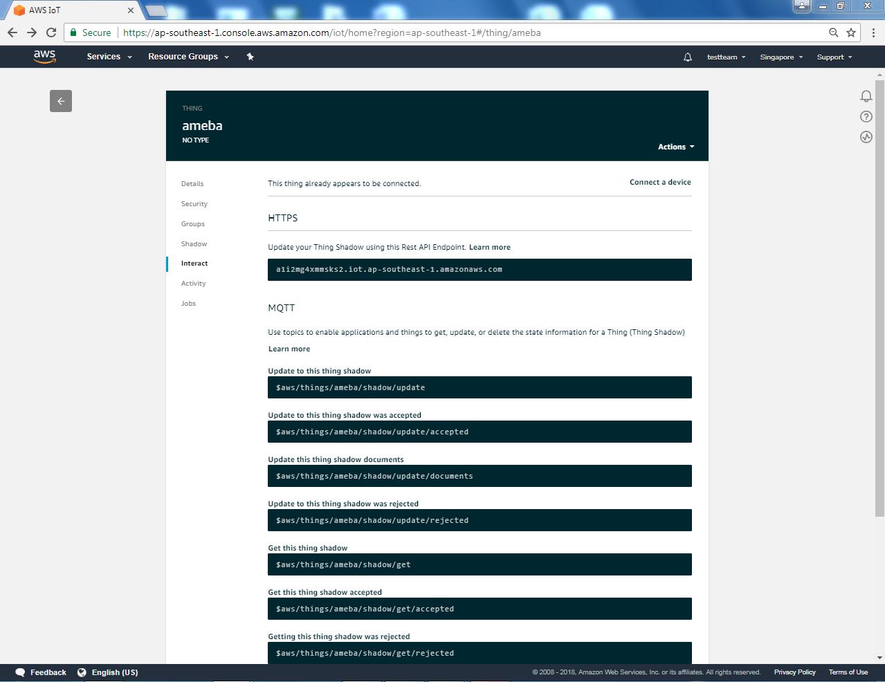 Ameba Arduino: [RTL8195] Use Amazon AWS IoT Shadow Service