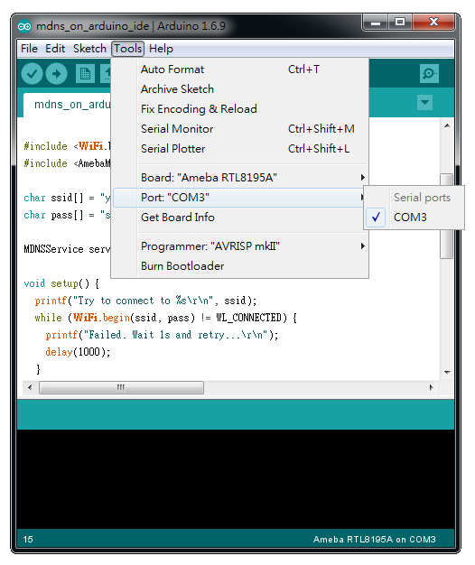 Ameba Arduino: [RTL8195] [RTL8710] Use mDNS to let Arduino