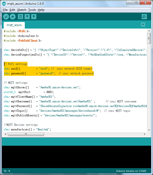 Ameba Arduino: [RTL8195] Connect to Microsoft Azure Cloud