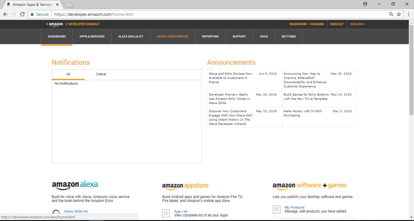 Ameba Arduino: [RTL8195] Amazon Service – Realtek IoT/Arduino Solution