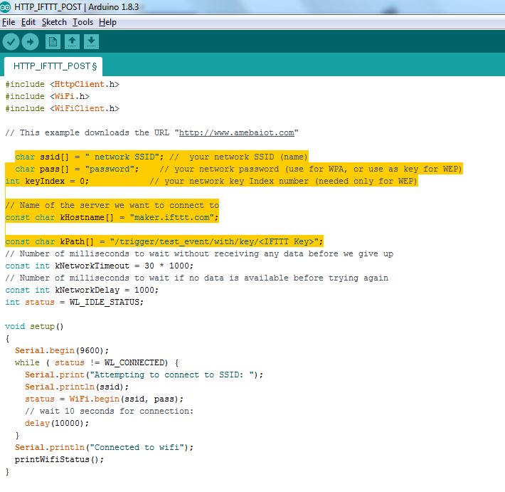 RTL8195][RTL8710] Access IFTTT via Ameba – Realtek IoT/Arduino Solution